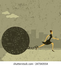 Ball and Chain A businesswoman trying to escape from her ball and chain. The woman with ball & chain and the background are on separately labeled layers.