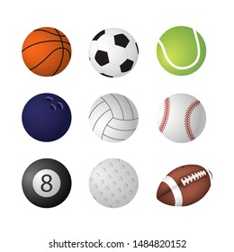 Ball collection. Sports equipment game balls football basketball tennis billiards golf rugby bowling volleyball symbols playing vector set