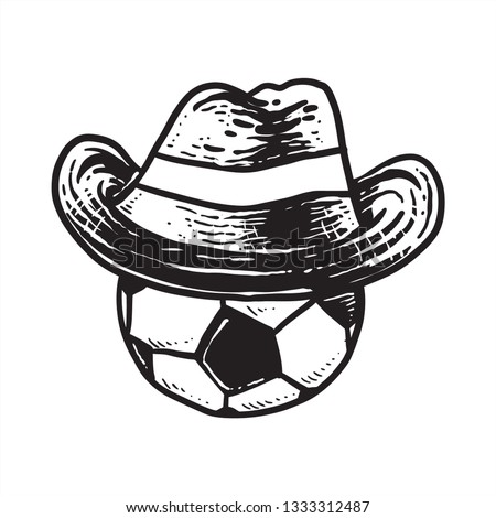 0cd157631be3c ball with cowboy hat sketch drawing line art black and white - Vector