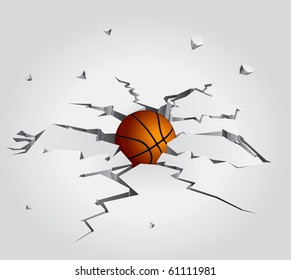 Ball in Cracked Stone Set 2 Vector Drawing