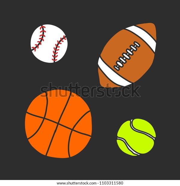 ball doodle icon set