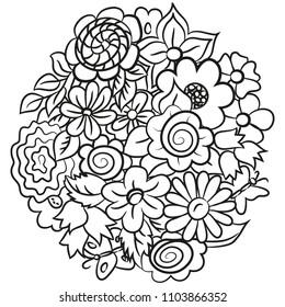 Ball of flowers. Black-white. Vector illustration.