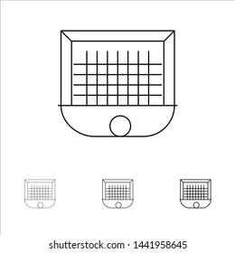 Ball, Gate, Goalpost, Net, Soccer Bold and thin black line icon set