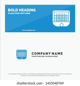 Ball, Gate, Goalpost, Net, Soccer SOlid Icon Website Banner and Business Logo Template