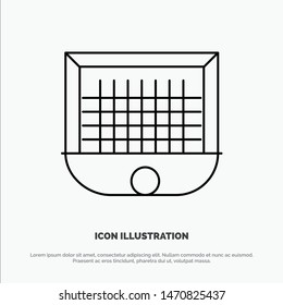 Ball, Gate, Goalpost, Net, Soccer Line Icon Vector. Vector Icon Template background