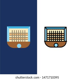 Ball, Gate, Goalpost, Net, Soccer  Icons. Flat and Line Filled Icon Set Vector Blue Background