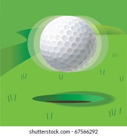 Ball for a golf in a levitation condition over hole