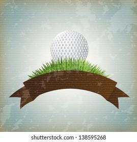 ball golf over vintage background vector illustration