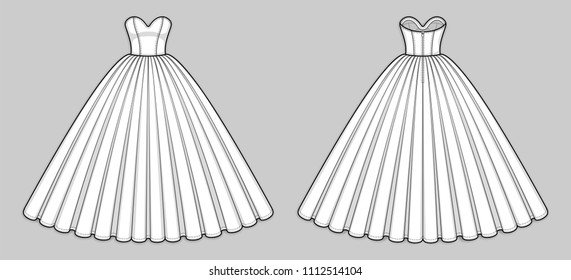 Ball gown dress. Corset bodice with strapless sweetheart neckline, seam at waist, back zip clasp, flared skirt with pleats. Quinceanera, wedding dress. Back and front. Technical flat sketch, vector.