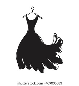 Ball gown hand drawing female black long on a hanger on a white background