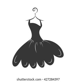 ball gown little black on a hanger on a white background
