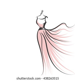 a ball gown long mannequin hand drawing illustration on a white background