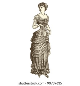 """Ball gown - Vintage engraved illustration - """"La mode illustree"""" by Firmin-Didot et Cie in 1882 France"""