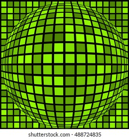 Ball of green squares of different sizes. Abstract background. Vector illustration.