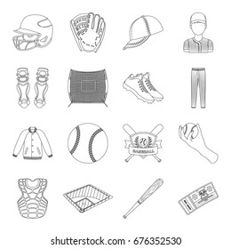 Ball, helmet, bat, uniform and other baseball attributes. Baseball set collection icons in line style vector symbol stock illustration web.