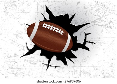 The ball hit the wall.  American Football.  Rugby. Hole in the white wall. Vector illustration