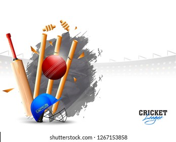 Ball hitting the wicket stumps with illustration of other equipments on stadium background. Cricket League poster or banner design.