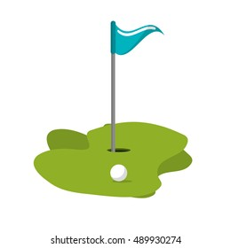 Ball hole and flag of golf sport design