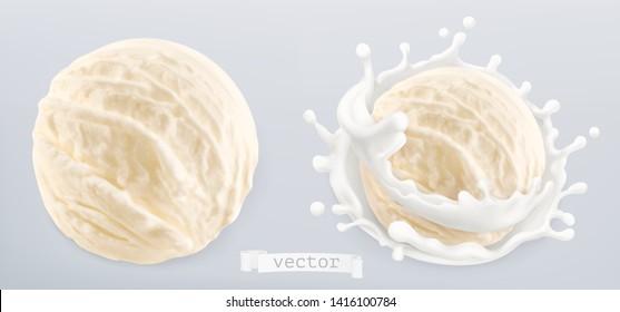 Ball of ice cream and splash of milk. 3d realistic vector