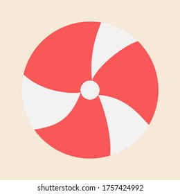 Ball icon red and white colour. Sport and summer flat illustration element.