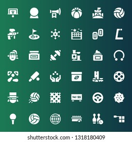 ball icon set. Collection of 36 filled ball icons included Offside, Bowling, Ball, Earth grid, Golf Tumbleweed, Racing game, Scoreboard, Ground pad, Volleyball, Magician
