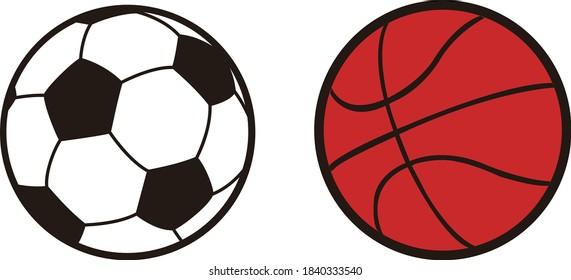ball icons. basketball, soccer on white background. vector Illustration.