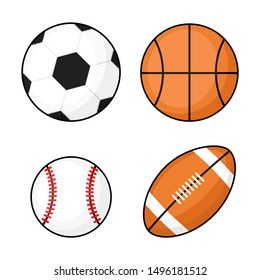 ball icons. football, basketball, soccer on white background. vector Illustration.