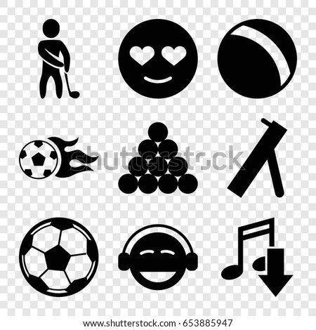 Ball Icons Set Of 9 Filled Such As Emot In