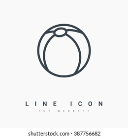Ball isolated minimal single flat icon. Toy line vector icon for websites and mobile minimalistic flat design.