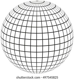ball with lines Earth globe with Meridian and longitude, 3D sphere vector illustration, print or website design