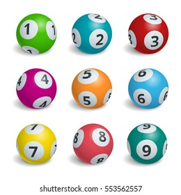 Ball lottery numbers. Lotto bingo game luck concept vector illustration.