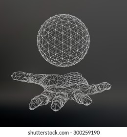 Ball on the arm. The hand holding a sphere. Polygon ball. Polygonal hand. Black background. The shadow of the objects in the background.