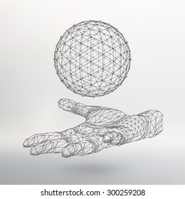 Ball on the arm. The hand holding a sphere. Polygon ball. Polygonal hand. White background. The shadow of the objects in the background.