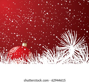 Ball on the Christmas tree and snow