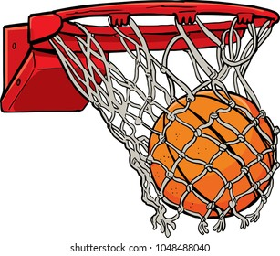 ball passes through the hoop in the basket
