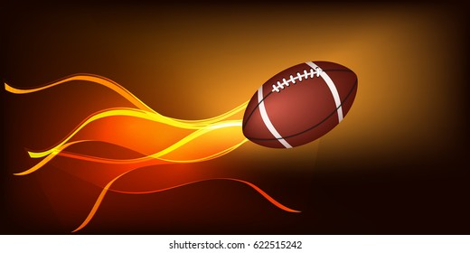 A ball for playing American football on a dark luminous background. Ball in motion, glowing stripes.