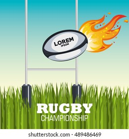 ball rugby flames field design