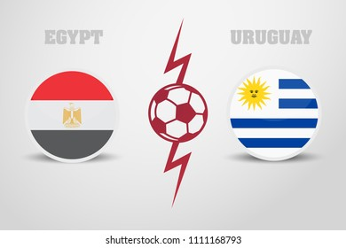 ball is separated by two flags. Egypt vs Uruguay