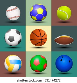 Ball set isolated. Vector illustration.