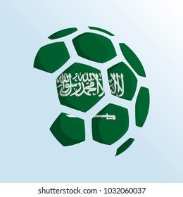 ball shaped of flag, saudi arabia flag, football themed