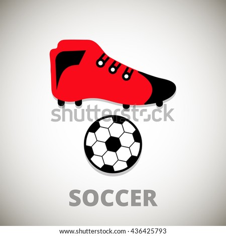 f283f0922 Ball Soccer Shoes Icon On Whitegray Stock Vector (Royalty Free ...