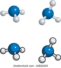 A ball and stick model of ammonia.