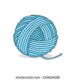 Ball of yarn isolated on white background. Knitting hobbies. Skeins of wool