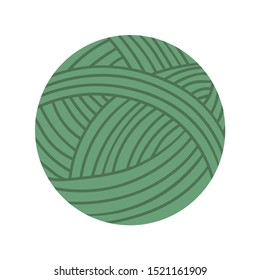 Ball of yarn isolated textile for handmade. Vector woolen material to knit wool cloth, needlecraft concept. Cotton sphere for knitting, green color