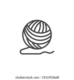 Ball of yarn line icon. linear style sign for mobile concept and web design. Woolen knitting thread ball outline vector icon. Symbol, logo illustration. Vector graphics