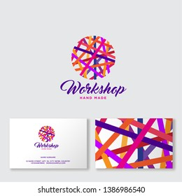 Ball of yarn multicolored threads. Needlework logo. Handmade product community. Business card Knitting, embroidery and sewing chat. Handicrafts Shop.