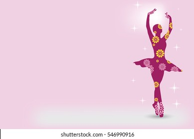 Ballerina background, pink dancer greeting card, silhouette wallpaper