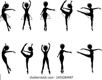 Ballerina Ballet Dancer Cartoon Silhouette Vector eps