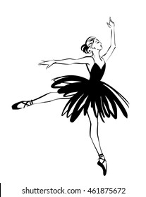 Ballerina - Ballet Dancer hand drawn illustration. Expressive unique ink drawing for wall decoration, poster, card, t-shirt design. Vector stock image - female in tutu posing in performance position.