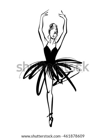 ballerina ballet dancer hand drawn illustration stock vector Female Mullet Hairstyles expressive unique ink drawing for wall decoration poster card t shirt design vector stock image female in tutu posing in performance position